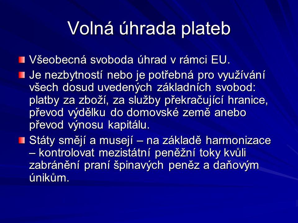 Volná úhrada plateb Všeobecná svoboda úhrad v rámci EU.