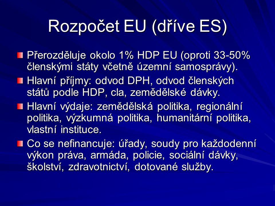 Rozpočet EU (dříve ES) Přerozděluje okolo 1% HDP EU (oproti 33-50% členskými státy včetně územní samosprávy).