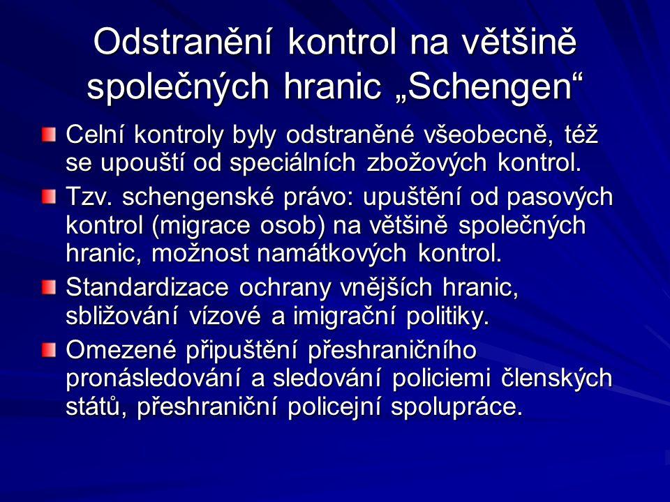 """Odstranění kontrol na většině společných hranic """"Schengen"""