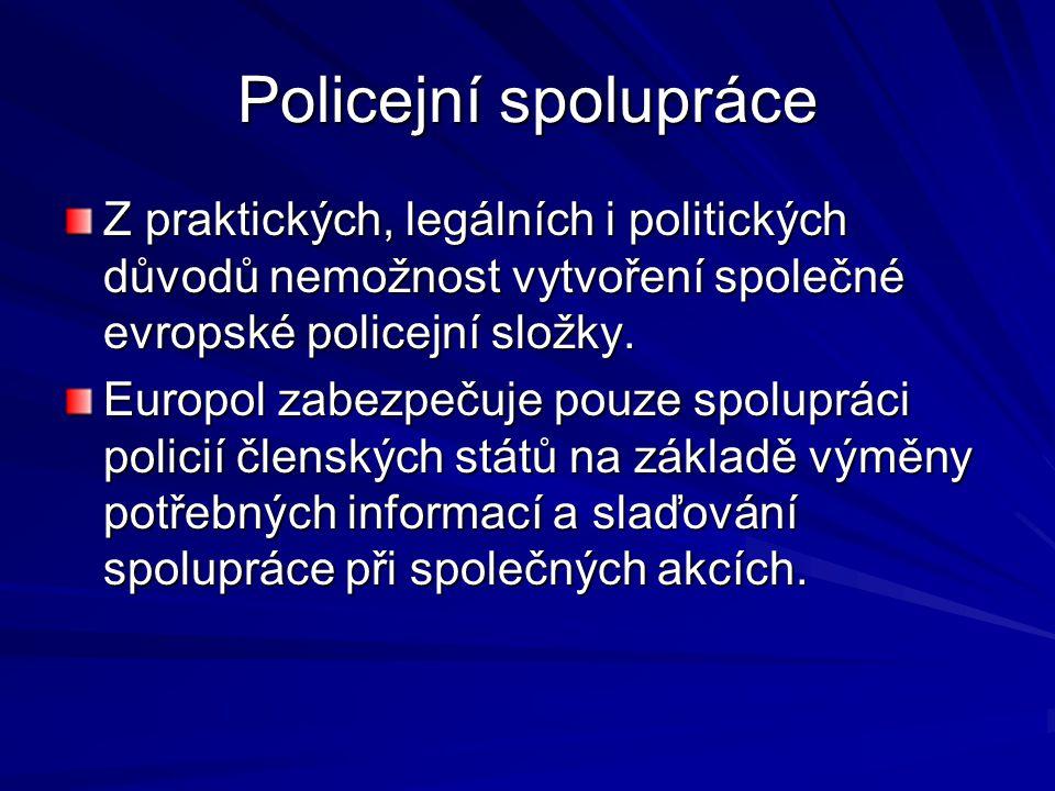 Policejní spolupráce Z praktických, legálních i politických důvodů nemožnost vytvoření společné evropské policejní složky.