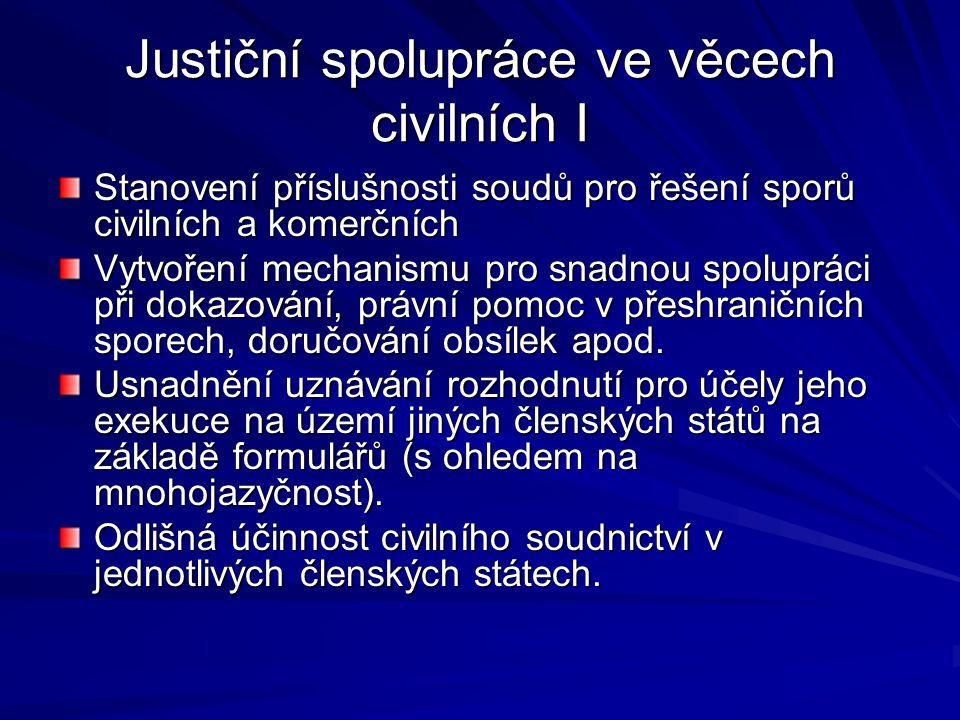Justiční spolupráce ve věcech civilních I