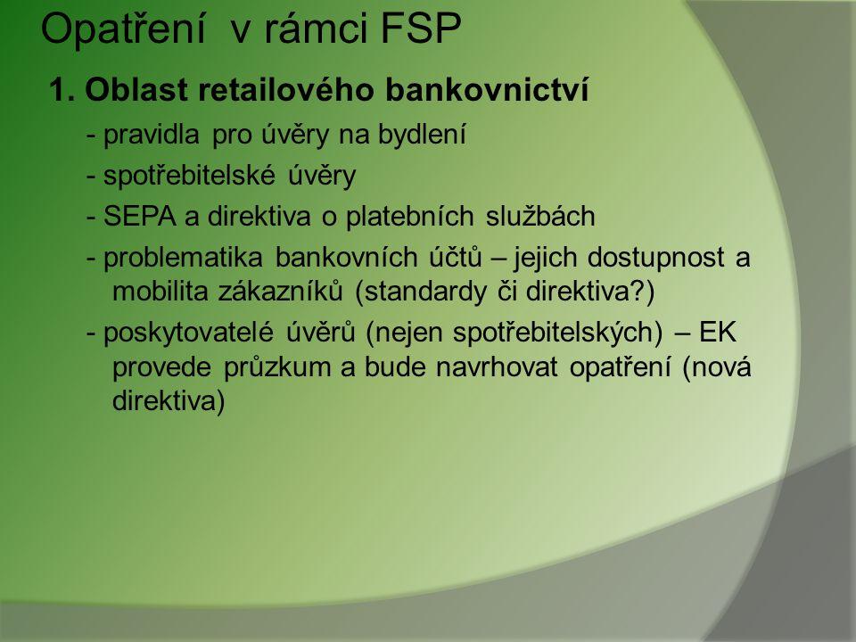 Opatření v rámci FSP 1. Oblast retailového bankovnictví