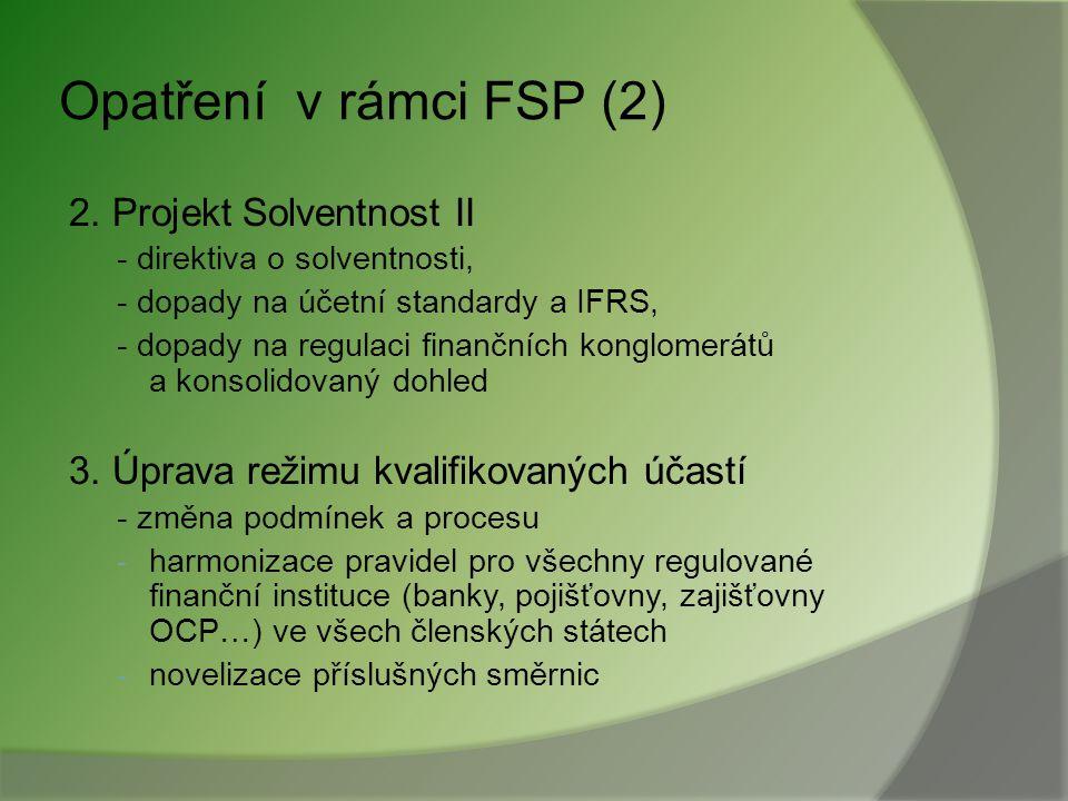 Opatření v rámci FSP (2) 2. Projekt Solventnost II
