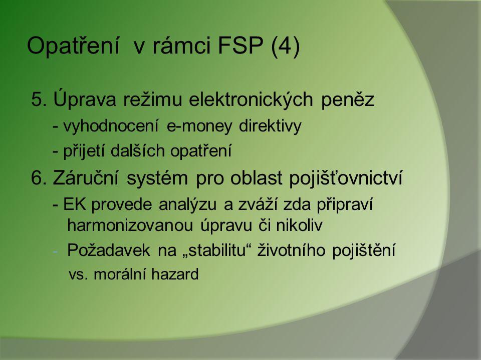 Opatření v rámci FSP (4) 5. Úprava režimu elektronických peněz