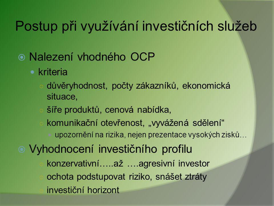 Postup při využívání investičních služeb