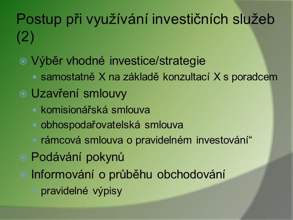 Postup při využívání investičních služeb (2)