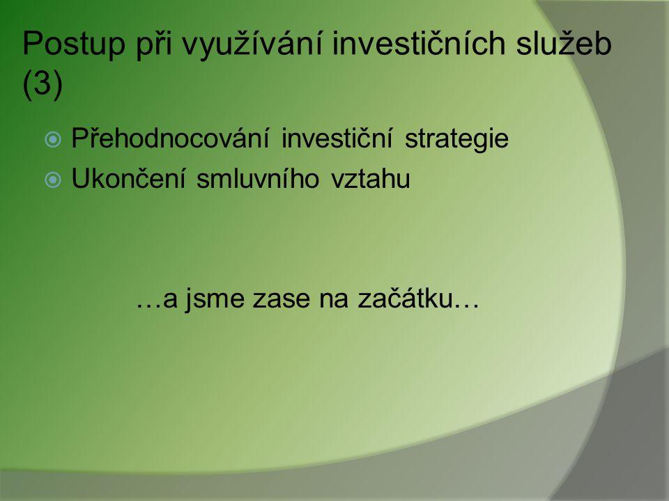 Postup při využívání investičních služeb (3)