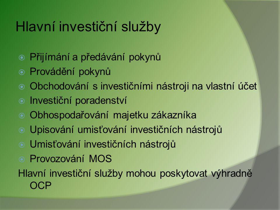 Hlavní investiční služby