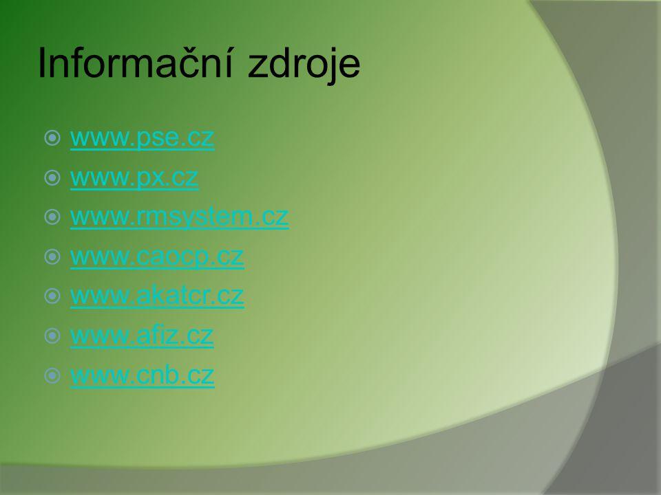 Informační zdroje www.pse.cz www.px.cz www.rmsystem.cz www.caocp.cz