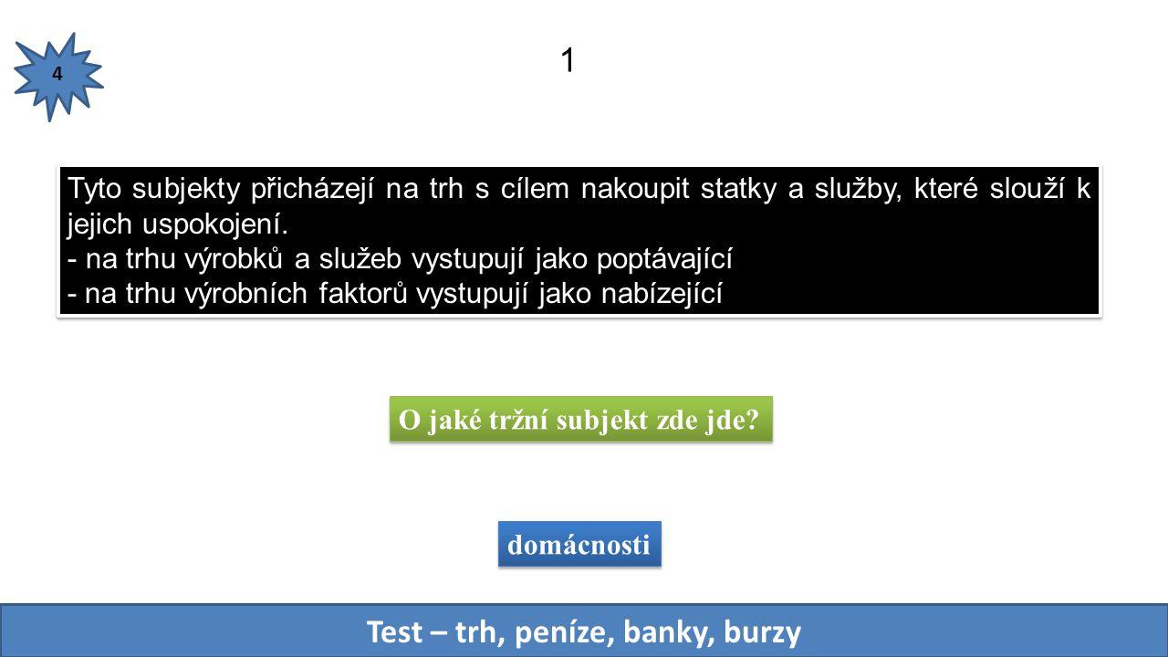 Test – trh, peníze, banky, burzy