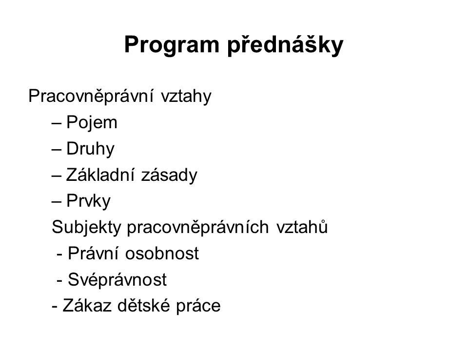 Program přednášky Pracovněprávní vztahy Pojem Druhy Základní zásady