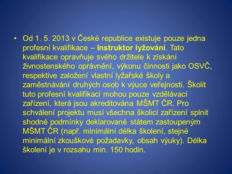 Od 1. 5. 2013 v České republice existuje pouze jedna profesní kvalifikace – Instruktor lyžování.