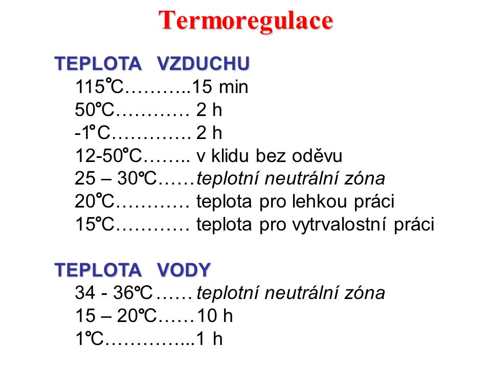 Termoregulace TEPLOTA VZDUCHU 115 C………..15 min 50 C ………… 2 h
