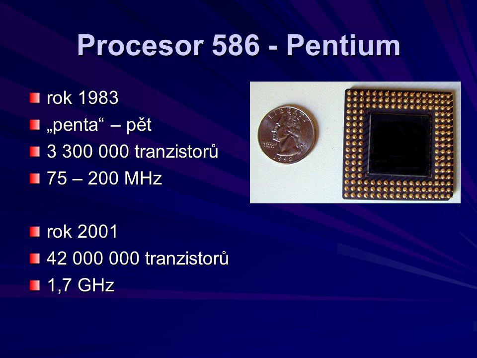 """Procesor 586 - Pentium rok 1983 """"penta – pět 3 300 000 tranzistorů"""