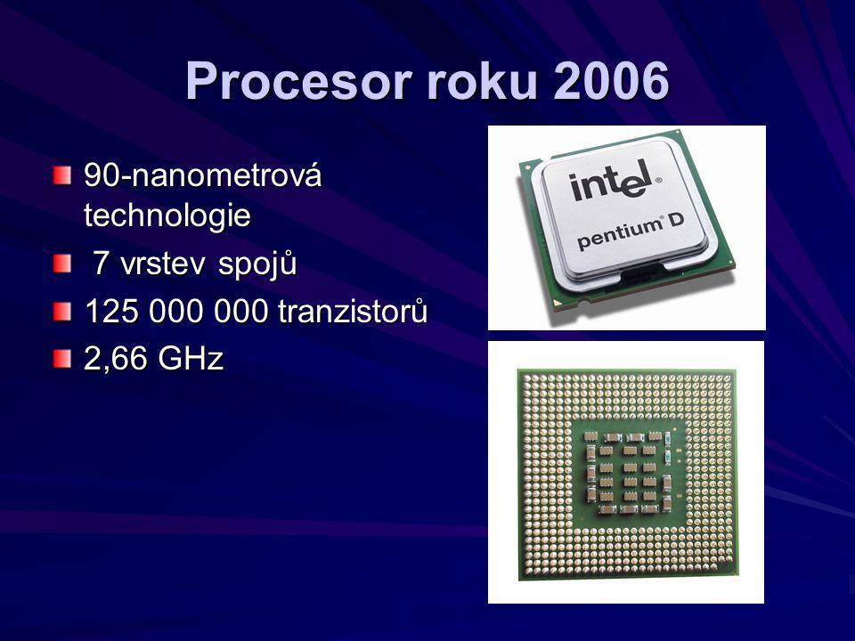 Procesor roku 2006 90-nanometrová technologie 7 vrstev spojů