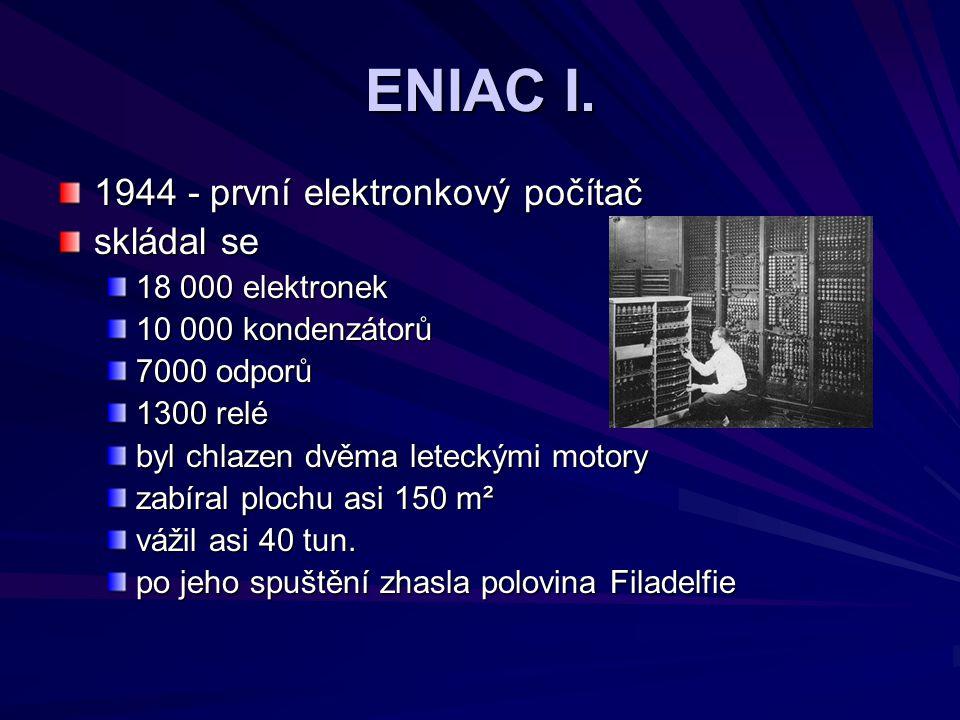 ENIAC I. 1944 - první elektronkový počítač skládal se
