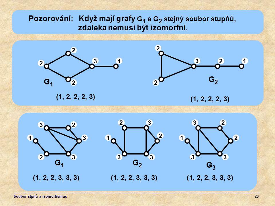 Pozorování: Když mají grafy G1 a G2 stejný soubor stupňů,