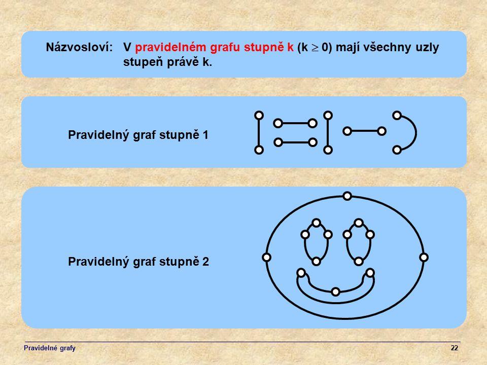 Názvosloví: V pravidelném grafu stupně k (k  0) mají všechny uzly