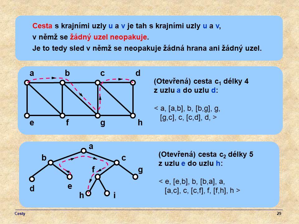 Cesta s krajními uzly u a v je tah s krajními uzly u a v,