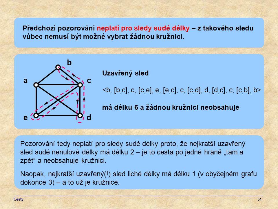 Předchozí pozorování neplatí pro sledy sudé délky – z takového sledu vůbec nemusí být možné vybrat žádnou kružnici.