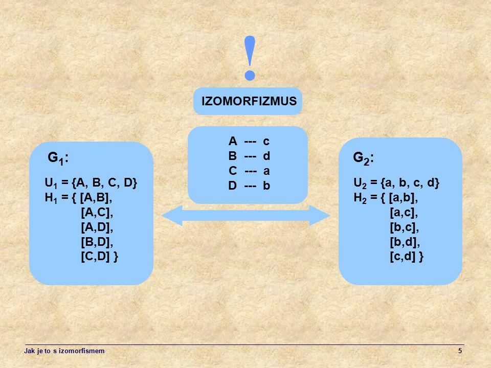 ! G1: G2: IZOMORFIZMUS A --- c B --- d C --- a D --- b