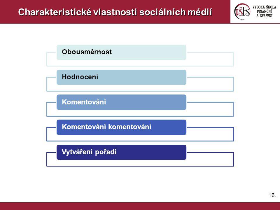 Charakteristické vlastnosti sociálních médií