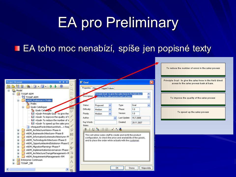 EA pro Preliminary EA toho moc nenabízí, spíše jen popisné texty