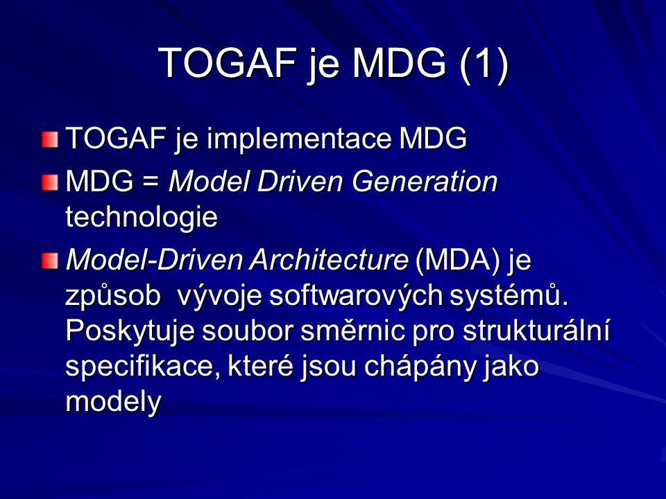 TOGAF je MDG (1) TOGAF je implementace MDG