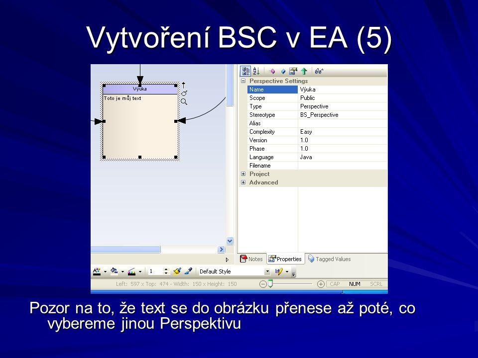 Vytvoření BSC v EA (5) Pozor na to, že text se do obrázku přenese až poté, co vybereme jinou Perspektivu.