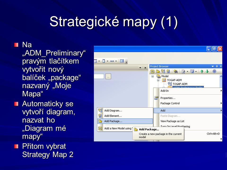 """Strategické mapy (1) Na """"ADM_Preliminary pravým tlačítkem vytvořit nový balíček """"package nazvaný """"Moje Mapa"""