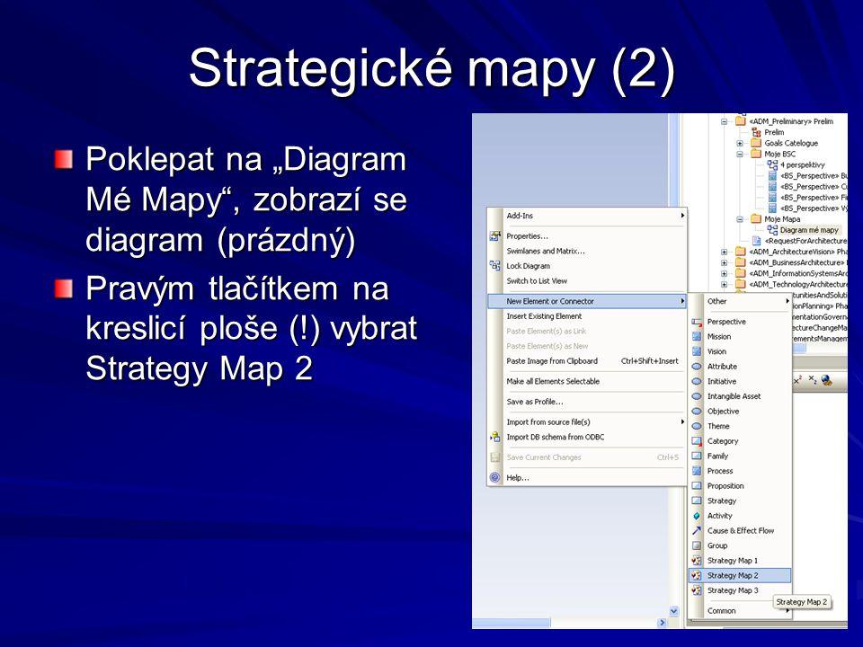 "Strategické mapy (2) Poklepat na ""Diagram Mé Mapy , zobrazí se diagram (prázdný) Pravým tlačítkem na kreslicí ploše (!) vybrat Strategy Map 2."