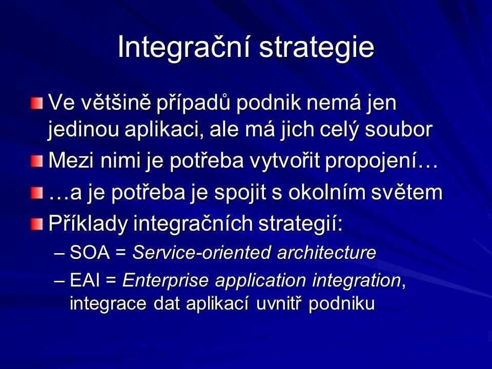 Integrační strategie Ve většině případů podnik nemá jen jedinou aplikaci, ale má jich celý soubor. Mezi nimi je potřeba vytvořit propojení…