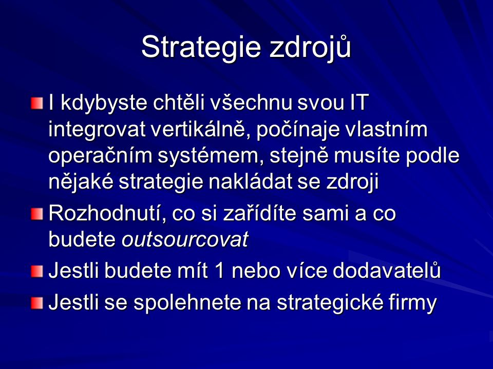 Strategie zdrojů