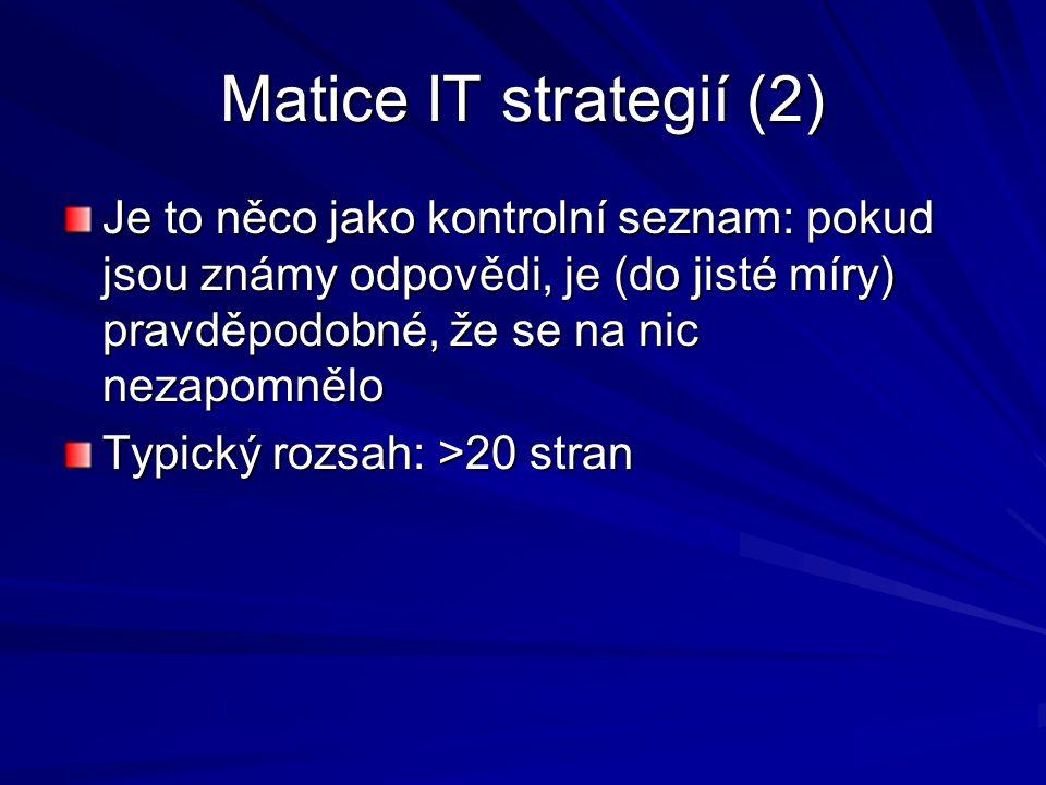 Matice IT strategií (2) Je to něco jako kontrolní seznam: pokud jsou známy odpovědi, je (do jisté míry) pravděpodobné, že se na nic nezapomnělo.