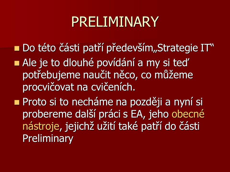 """PRELIMINARY Do této části patří především""""Strategie IT"""