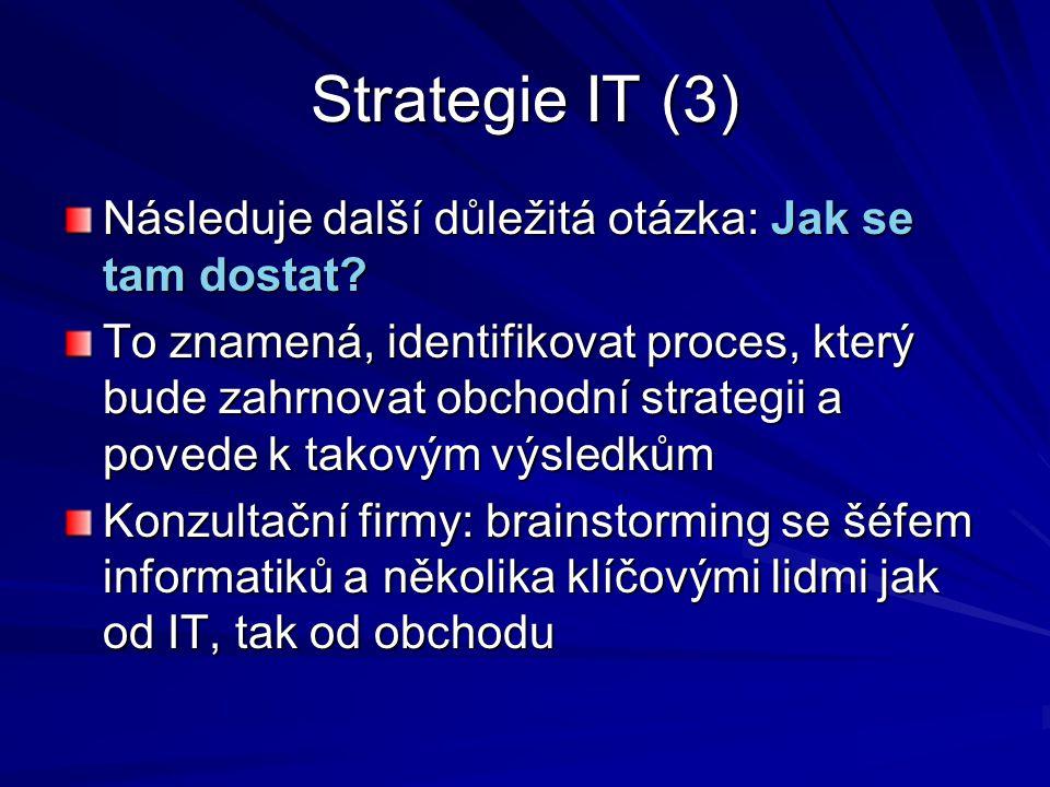 Strategie IT (3) Následuje další důležitá otázka: Jak se tam dostat