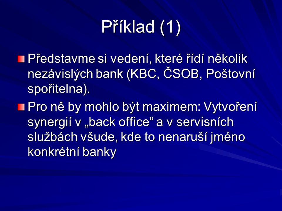 Příklad (1) Představme si vedení, které řídí několik nezávislých bank (KBC, ČSOB, Poštovní spořitelna).