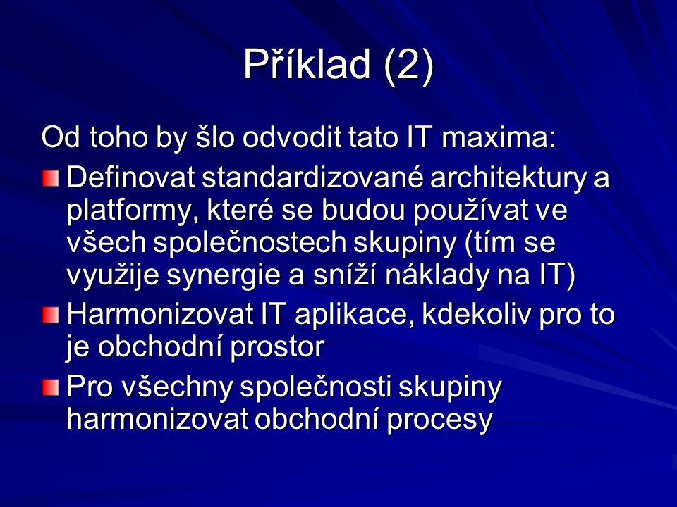 Příklad (2) Od toho by šlo odvodit tato IT maxima: