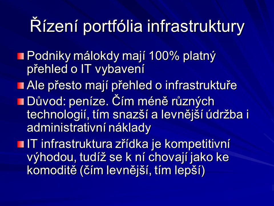 Řízení portfólia infrastruktury