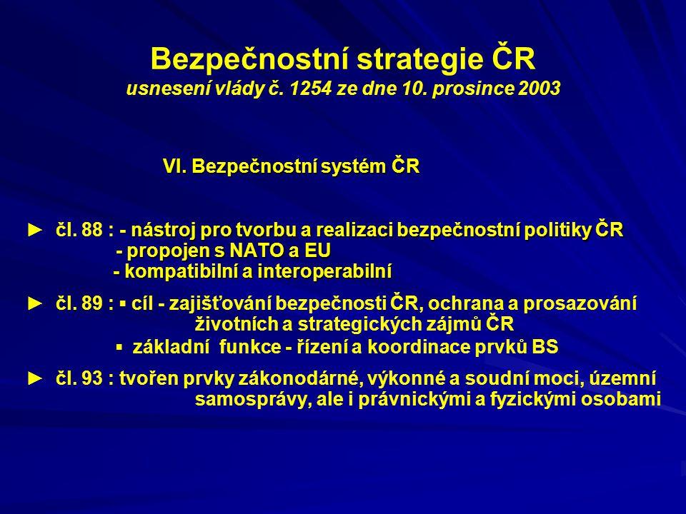 Bezpečnostní strategie ČR usnesení vlády č. 1254 ze dne 10