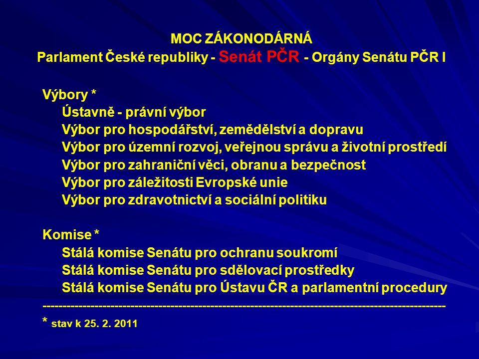 MOC ZÁKONODÁRNÁ Parlament České republiky - Senát PČR - Orgány Senátu PČR I