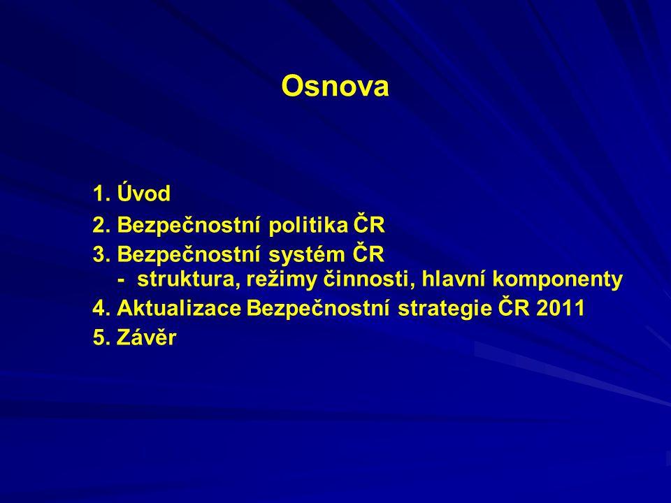 Osnova 1. Úvod 2. Bezpečnostní politika ČR