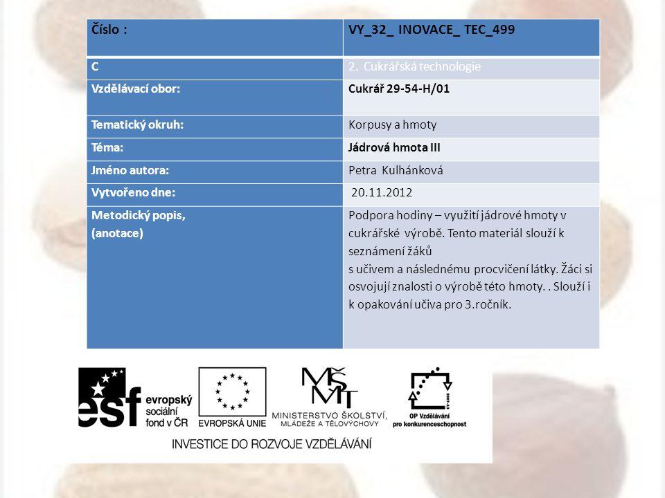 Číslo : VY_32_ INOVACE_ TEC_499 C 2. Cukrářská technologie