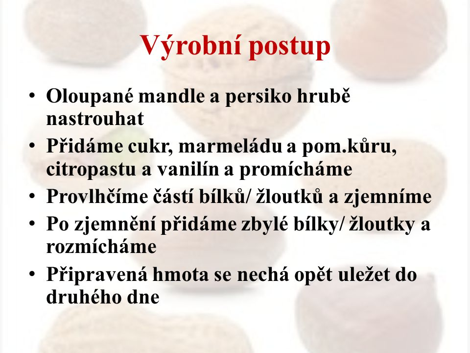 Výrobní postup Oloupané mandle a persiko hrubě nastrouhat