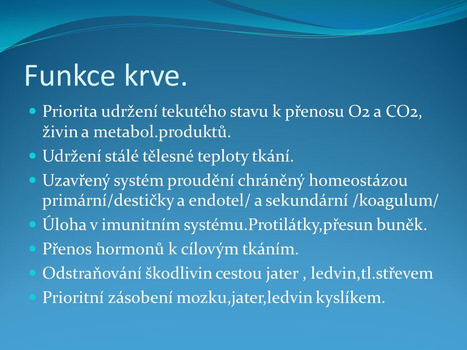 Funkce krve. Priorita udržení tekutého stavu k přenosu O2 a CO2, živin a metabol.produktů. Udržení stálé tělesné teploty tkání.