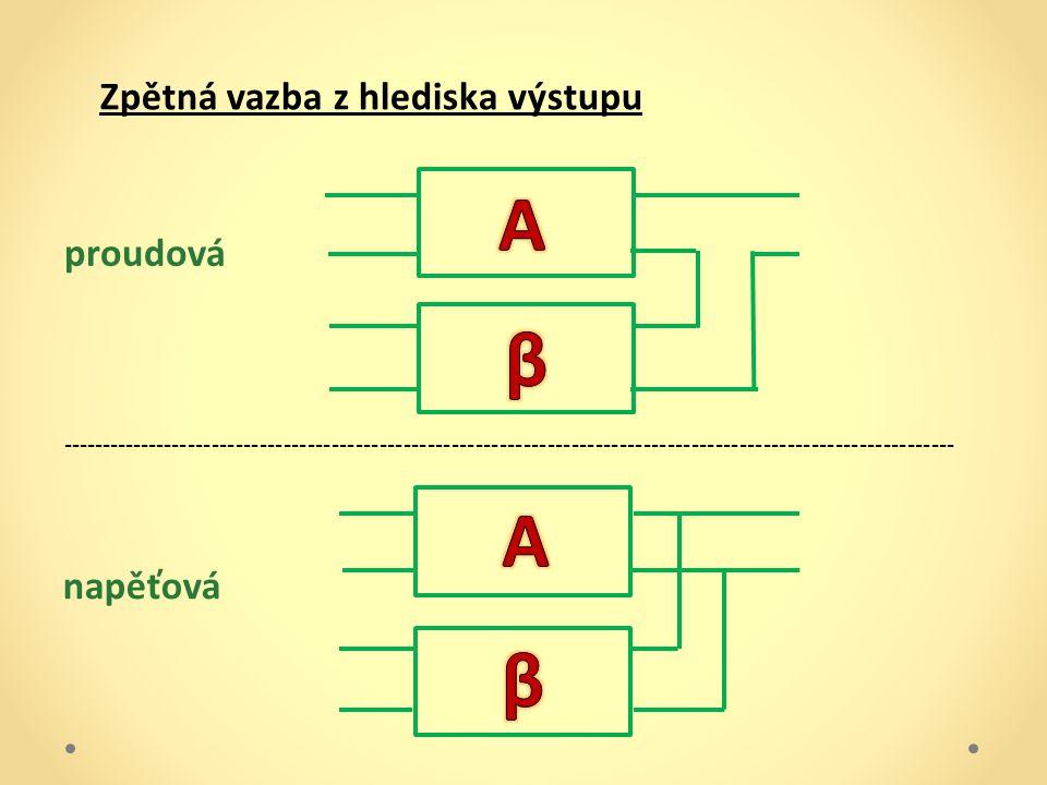 A β A β Zpětná vazba z hlediska výstupu proudová napěťová