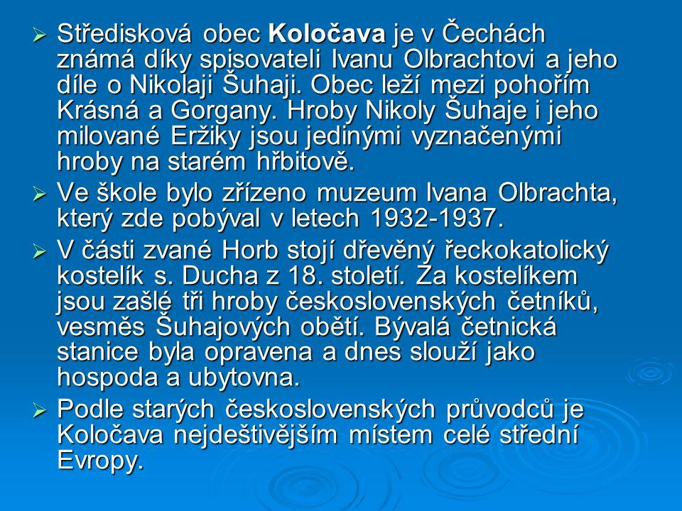 Středisková obec Koločava je v Čechách známá díky spisovateli Ivanu Olbrachtovi a jeho díle o Nikolaji Šuhaji. Obec leží mezi pohořím Krásná a Gorgany. Hroby Nikoly Šuhaje i jeho milované Eržiky jsou jedinými vyznačenými hroby na starém hřbitově.