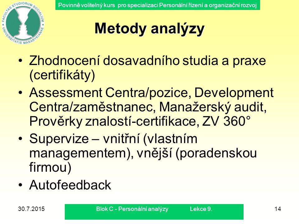Blok C - Personální analýzy Lekce 9.