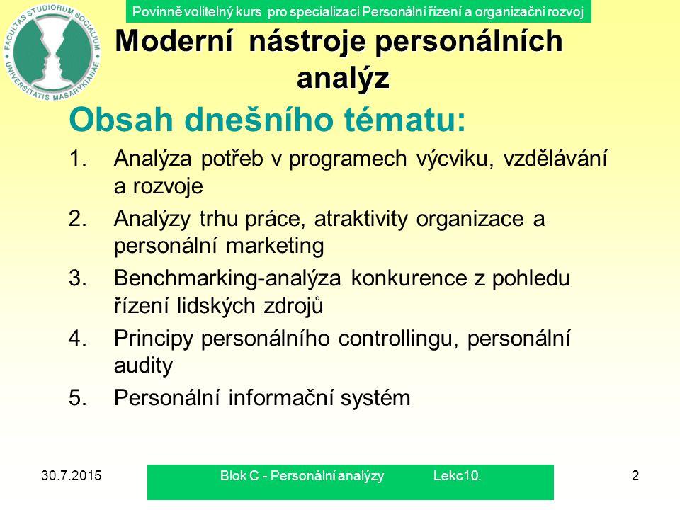 Moderní nástroje personálních analýz