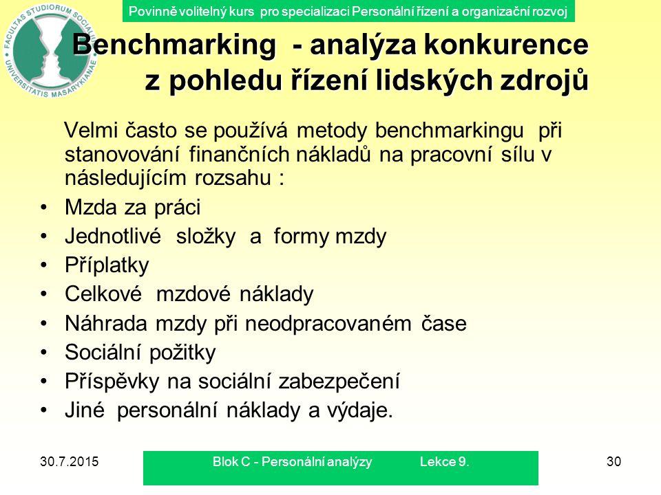 Benchmarking - analýza konkurence z pohledu řízení lidských zdrojů